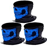 eBoot 3 Pack Seamless Skull Face Tube Mask Motorcycle Face Mask Outdoor Mask Sport Headwear (Blue)