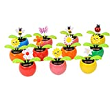 Set of 8 Cute Solar Power Flip Flap Flower Insect For Car Decoration Swing Dancing Flower Eco-friendly Bobblehead Solar Dancing Flowers in Colorful Pots