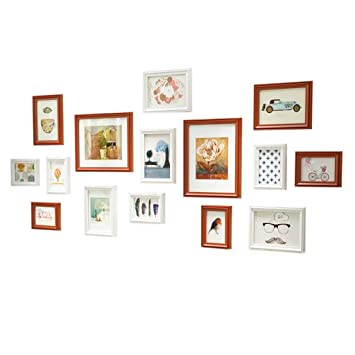 Amazon Com 15 Piece Wood Photo Frame Wall Gallery Kit