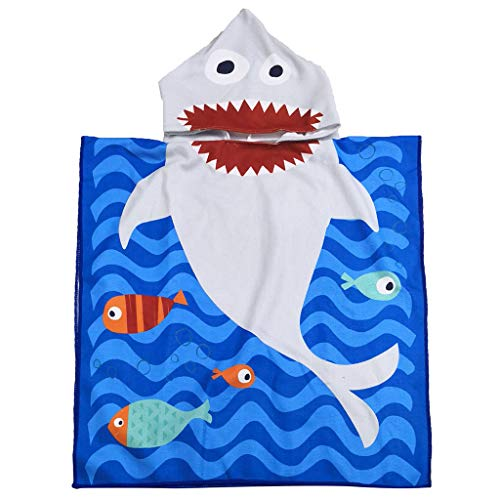 Wffo Cute and Creative Toddler Hooded Beach Bath Towel Shark Soft Swim Pool Coverup Poncho Cape for Boys Kids Children 1-12 Years Old Bath Robe (D)