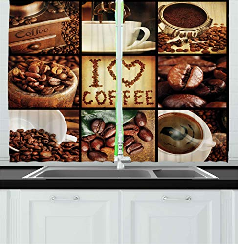 Ambesonne Brown Kitchen Curtains, I Love Coffee Theme Collage Roasted Beans Brewing Machines and Cups Aromatic Drink, Window Drapes 2 Panels Set for Kitchen Cafe, 55W X 39L Inches, Brown White -