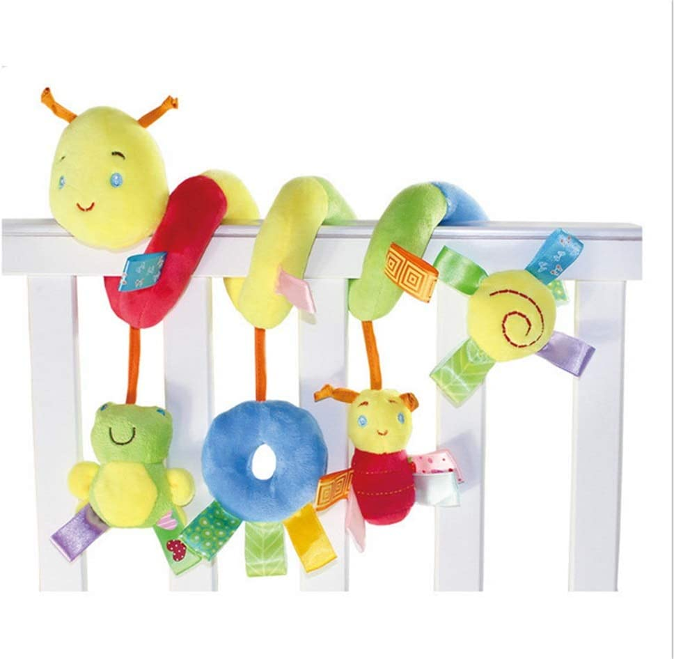 Bonwuno Infant Baby Worm Crib Bed Around Rattle Bell Cartoon Insect Stroller Hanging Stuffed Wrap Spiral Safety Toys Kid Cot Pram Rattles Car Seat Baby Toy