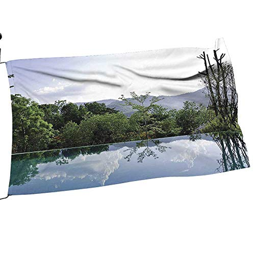 painting-home Garden Flag Set Cloud and Tree Reflecti Infinity Pool Distant Hills Getaway Gift for Children or Parents12 x 18