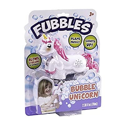 Little Kids Fubbles Unicorn Premium Quality Bubble Blaster for Girls and Boys with Fun Lights and Unicorn Themed Sounds. Premium Bubble Solution Included: Toys & Games