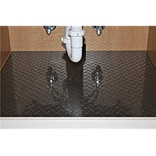 Resilia Premium Under The Sink Mat- Large Universal Size, Cut To Fit Cabinets, Shelf & Drawer Liners, Thick Plastic Diamond Plate Surface, 24 x 48 inches, Black