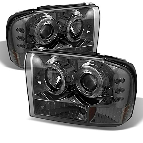 For Ford F-Series SuperDuty 00-04 Excursion Smoked Smoke Dual Halo Projector Headlights Replacement Pair
