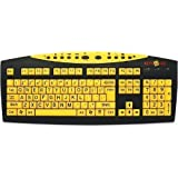 AbleNet Keys U See Large Print US English USB Wired Keyboard, Yellow (MAG0428)
