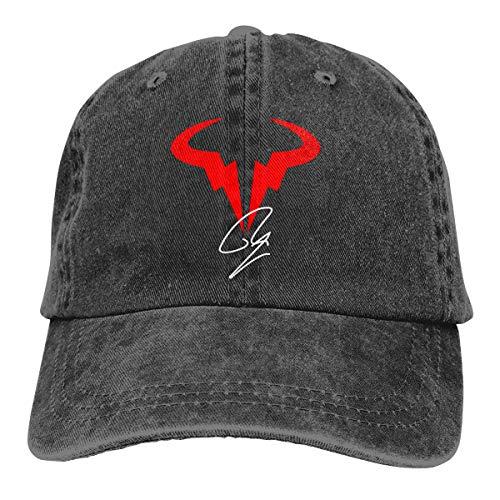 (Mkaipm Rafael-Nadal-Logo-Tennis Hat Cap Unisex Soft Adjustable Solid Baseball Caps Hip Hop Hat Black)
