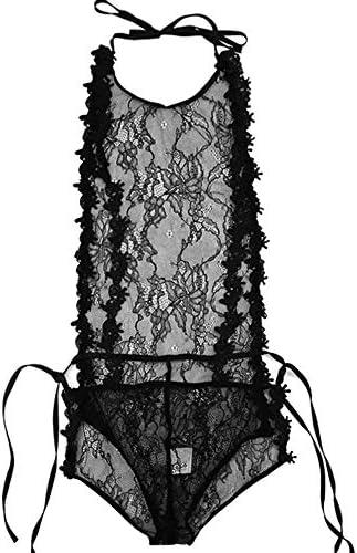 Boombee Frauen Unterwäsche Reizwäsch Lace One-Piece Hot Pyjamas Erotischen Wäsche-Frauen-transparente Erotik One-Piece Rock Hot Mitternachtskleid (Farbe : Schwarz, Größe : Einheitsgröße)