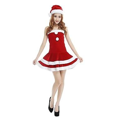 AKwell Women Sexy Cute Christmas Dress Christmas Hat Sexy ...