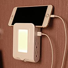 USB Wall Charger, 4 - AC Power Outlet Adapter Plug + Quick Charge 2-USB Ports Charging Station + Dusk to Drawn Sensor Night Light for iPhone 6 Plus/6/5S/5C/5/4S iPad Pro/Air/Mini Smartphone, Tablet