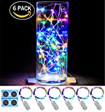 6 Pack,7Feet 20 LED Starry String Lights, Silver Wire,2pcs CR2032 Batteries Included, Firefly Lights LED Moon Lights for DIY Dinner Party,Table Decoration,Wedding Centerpiece(Multicolor)