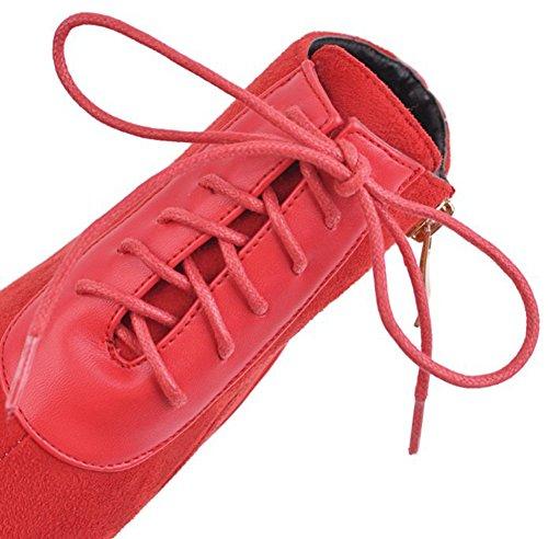 Aisun Femmes Élégante Robe Lace Up À Lintérieur Zip Up Bout Pointu Chaussons Talons Hauts Talons Bottines Chaussures Avec Fermeture À Glissière Rouge