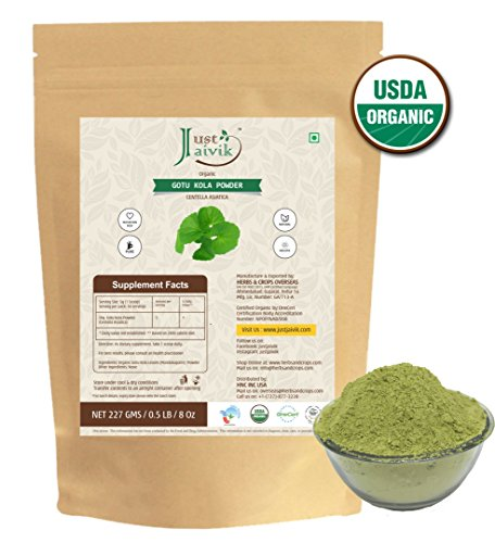 Just Jaivik 100% Organic Gotu Kola Powder, 1/2 Pound - 227g - USDA Organic - Centella Asiatica - Ayurvedic Herb for The Brain & Nervous System Also Known as Mandupakarni (Gotu Kola Herb Powder)