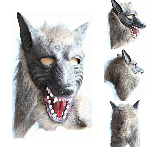 YuYe Creepy Latex Animal Wolf Head Mask Halloween Party Costume Cosplay Prop -