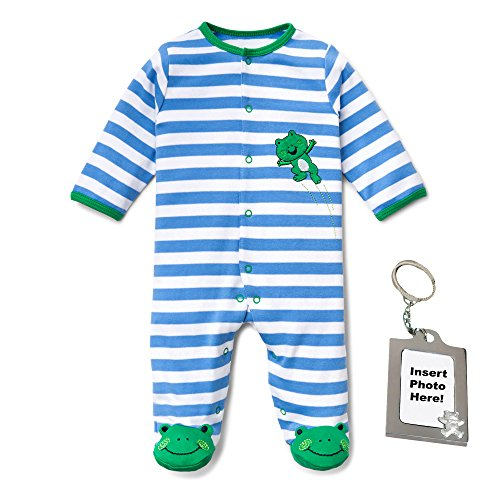 Little Me Infant Cotton Sleep n Play Striped with Frog Feet & Keychain 9 (Frog Seashells)