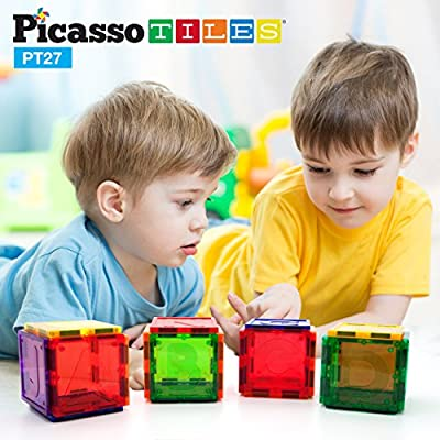 PicassoTiles PT27 Magnetic Building Blocks 27 Piece Alphabet Toy Set Magnet Tiles Construction Toys 3D Clear Color Stacking Block Toy STEM Playboard, Learning By Playing, Creativity Beyond Imagination: Toys & Games