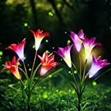 Outdoor Solar Garden Stake Lights Upgraded 2 Pack Solar Flower Lights with 8 Lily Flower,Multi-Color Changing LED Solar Powered Lights for Patio,Yard Decoration,Bigger Flower and Wider Solar Panel
