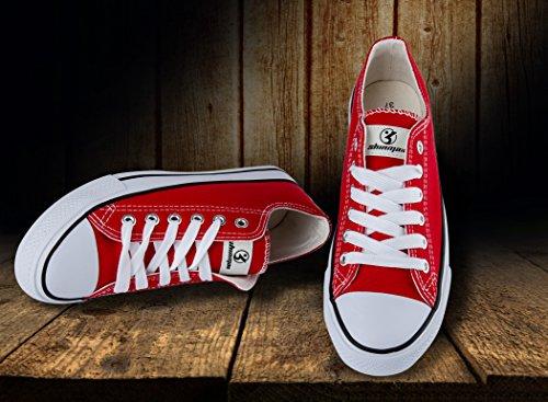 Shinmax Low-Cut Hitops Canvas Schuhe Unisex Canvas Sneaker - Saison Lace Ups Schuhe Casual Trainer für Männer und Frauen Rot-Tiefschnitt
