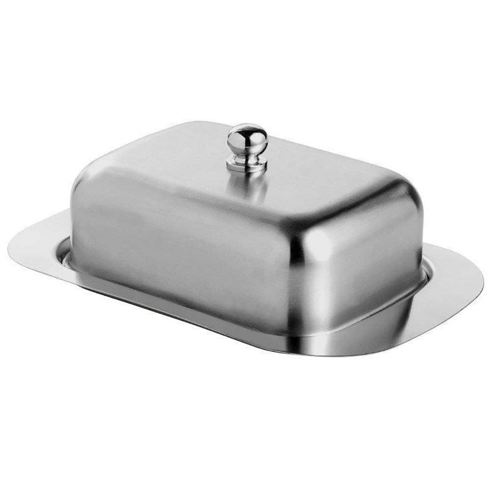 Alxcio Stainless Steel Butter Dish with Lid, 18.7 x 12.3 x 7cm, Silver