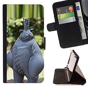- Queen Pattern FOR Apple Iphone 4 / 4S /La identificaci????n del cr????dito ranuras para tarjetas tir????n de la caja Cartera de cuero cubie - funny animal abstract bear king sta
