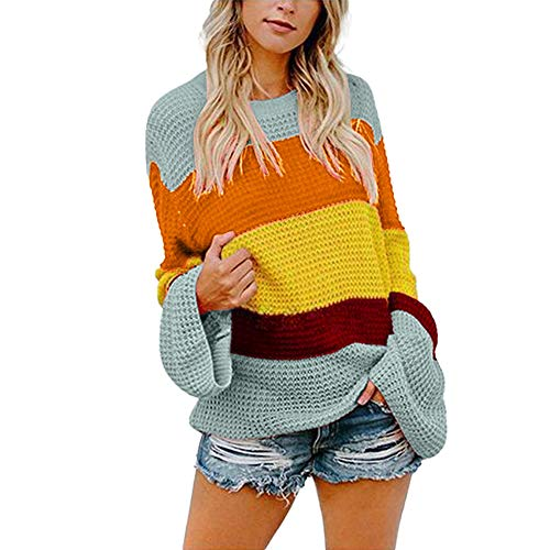 KFSO Womens Color Block Striple Sweater Casual Knitted Loose Bell Long Sleeve Pullover (Green, L)