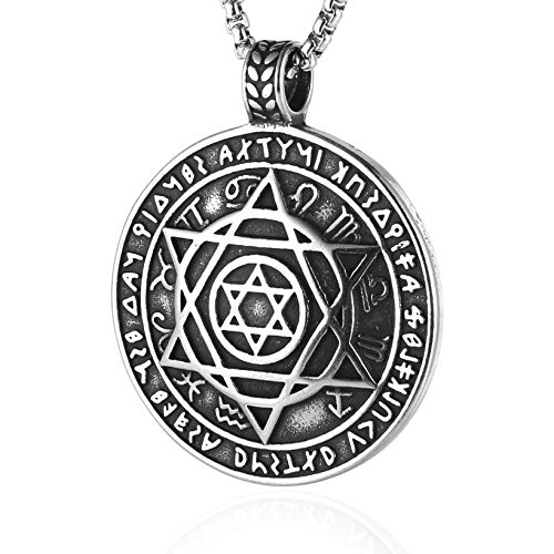 (HZMAN Talisman Seal Solomon Six-Pointed Star 12 Constellation Pendant Stainless Steel Necklaces 24