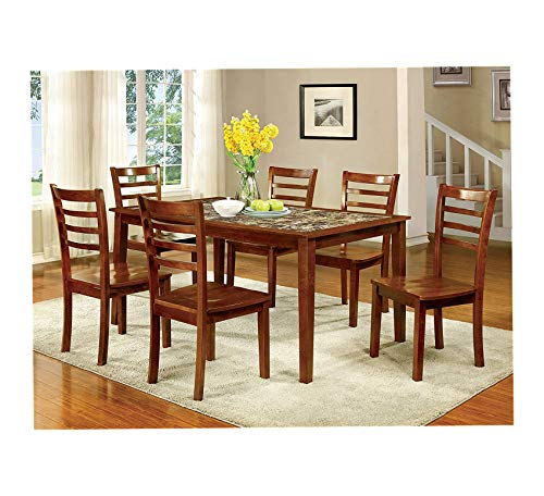 (Wood & Style Furniture Venice 7 Piece Faux Marble Top Dining Set, Antique Oak Home Office Commerial Heavy Duty Strong Décor)