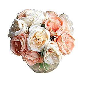Zinnor Artificial Flower Fake Silk 5 Heads Plastic Ranunculus Asiaticus Wedding Bouquet Flower Floral Rose Flower Simulation Rose for Home Hotel Office Wedding Party Garden Craft Art Decor, Pink 6