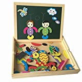 Itian Wooden Double Sided Writing Drawing Board Magnetic Black and White Board Jigsaw Puzzle Educational Toys for For Kids Boys Girls Over 3-Year-Old