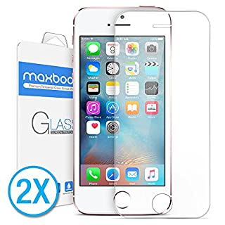 Maxboost Screen Protector for iPhone SE (2016 Edition), iPhone 5s, iPhone 5c and iPhone 5, Tempered Glass Round Edge Ultra Clear Case Friendly - 1 Pack