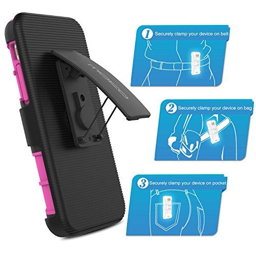 MoKo iPhone 6s Coque - [Série Lourde] Etui Housse Robuste Double Couche Résistant aux chocs avec clips de ceinture pivotante pour Apple iphone 6 / 6S (2014 / 2015) 4.7 Pouces, MAGENTA