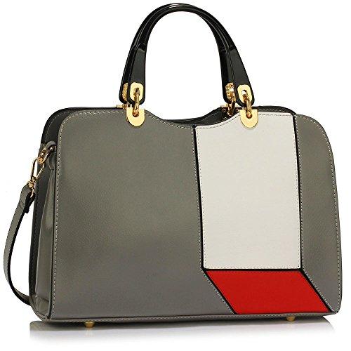 TrendStar - Bolso de asas de piel sintética para mujer negro A - Black A - Grey/White/Red