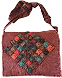 Maroon and Colorful Circles Handmade Hippie Boho Messenger Bag