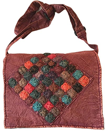 Maroon and Colorful Circles Handmade Hippie Boho Messenger Bag by The Boho Hippie