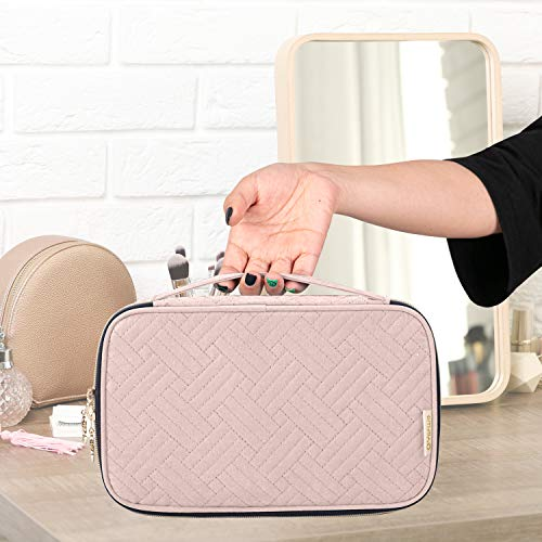 "Yarwo Travel Makeup Brushes Bag, Portable Cosmetic Bag for Makeup Brushes (up to 9.4"" )and Cosmetic Essentials, Pale Mauve (BAG ONLY)"