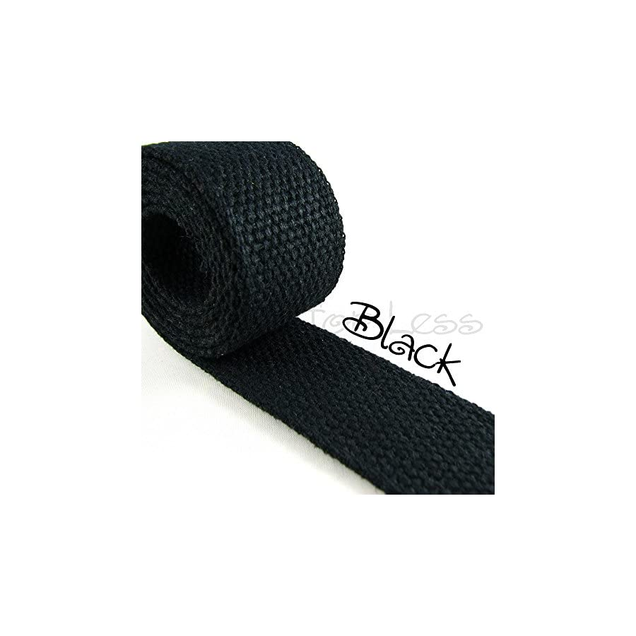 10 Yard Cotton Webbing 1 1/4 Medium Heavy Weight Black