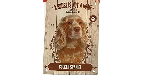 Cartel de metal con texto en inglés Cocker Spaniel A House Is Not ...