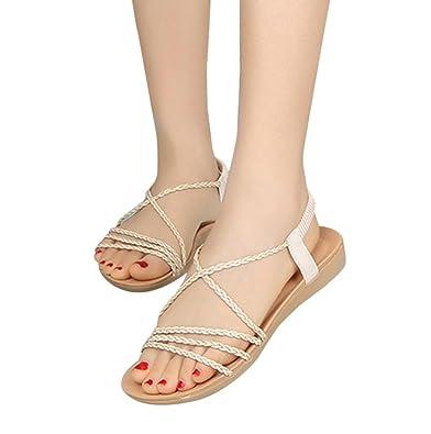 5d9d0c575 Women Summer Sandals HEHEM Women Summer Bohemia Woven Belt Simple Slippers  Flat Beach Sandals Wedge Sandals