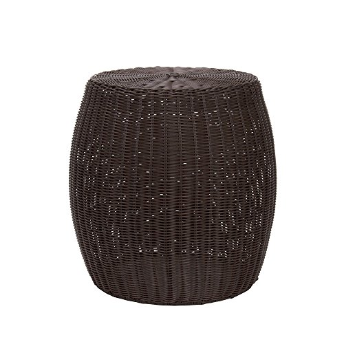 Household Essentials Resin Wicker Side Table, Brown - Living Room Wicker Side Table