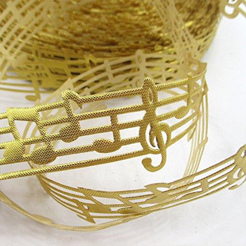 25 yards Music Printed Hollow Note Cutout Ribbon DIY Handmade Material (Gold)
