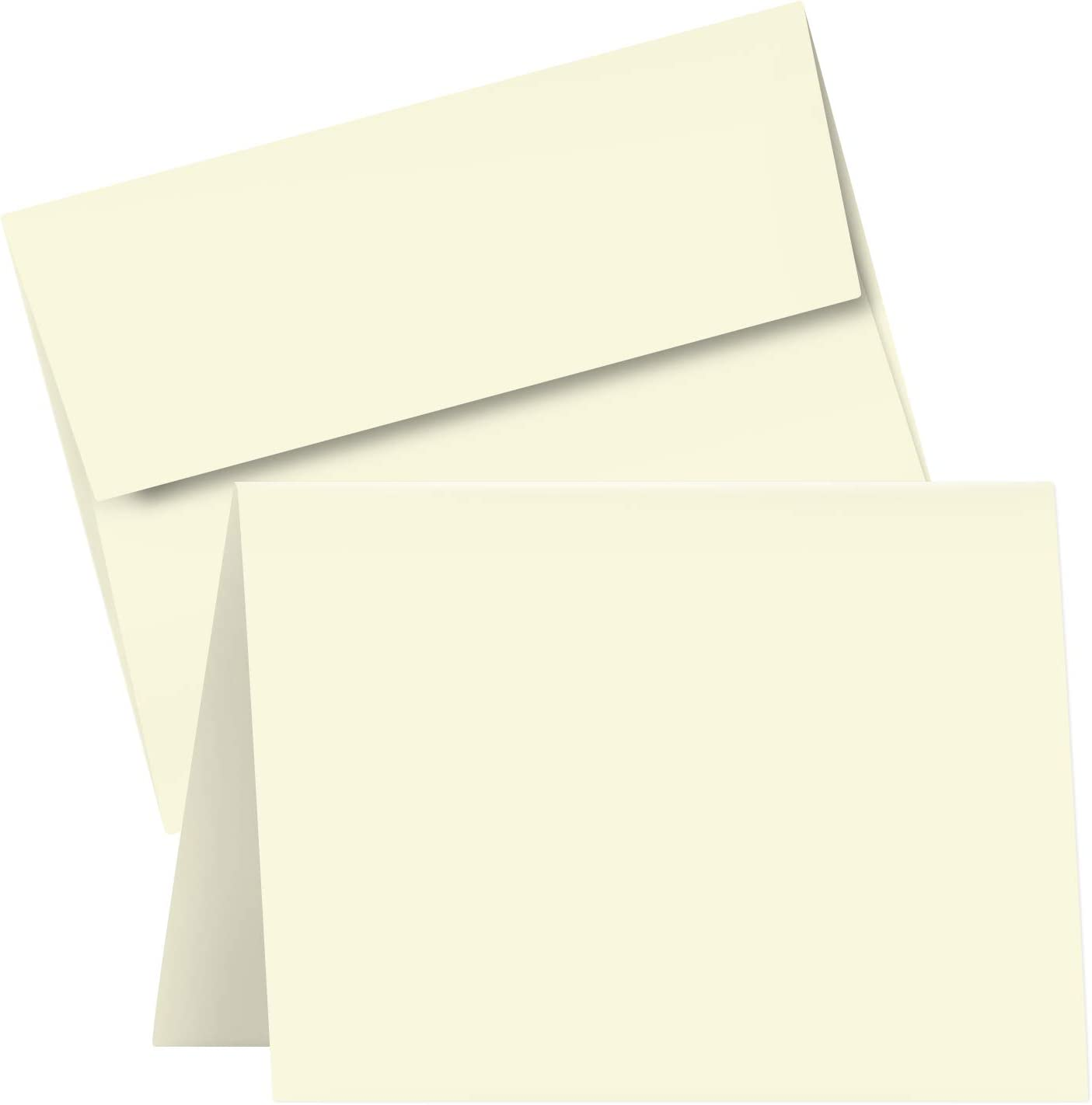 A6 Blank Cream Folding Greeting Cards | 4.5 x 6 Inches (When Folded) | Durable and Thick 80lb (216gsm) Card Stock | 50 Cards and Envelopes per Pack : Office Products