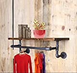 Industrial Pipe Shelves Wall Mounted,Clothing rack Rustic Floating Wall Shelf with Metal Pipe Frame,Multi-purpose Use (100CM)