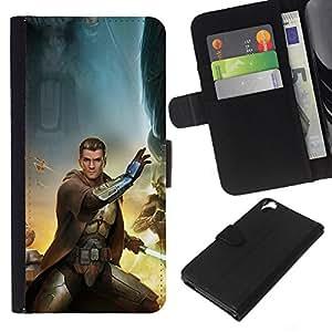 NEECELL GIFT forCITY // Billetera de cuero Caso Cubierta de protección Carcasa / Leather Wallet Case for HTC Desire 820 // Estrella Jedi