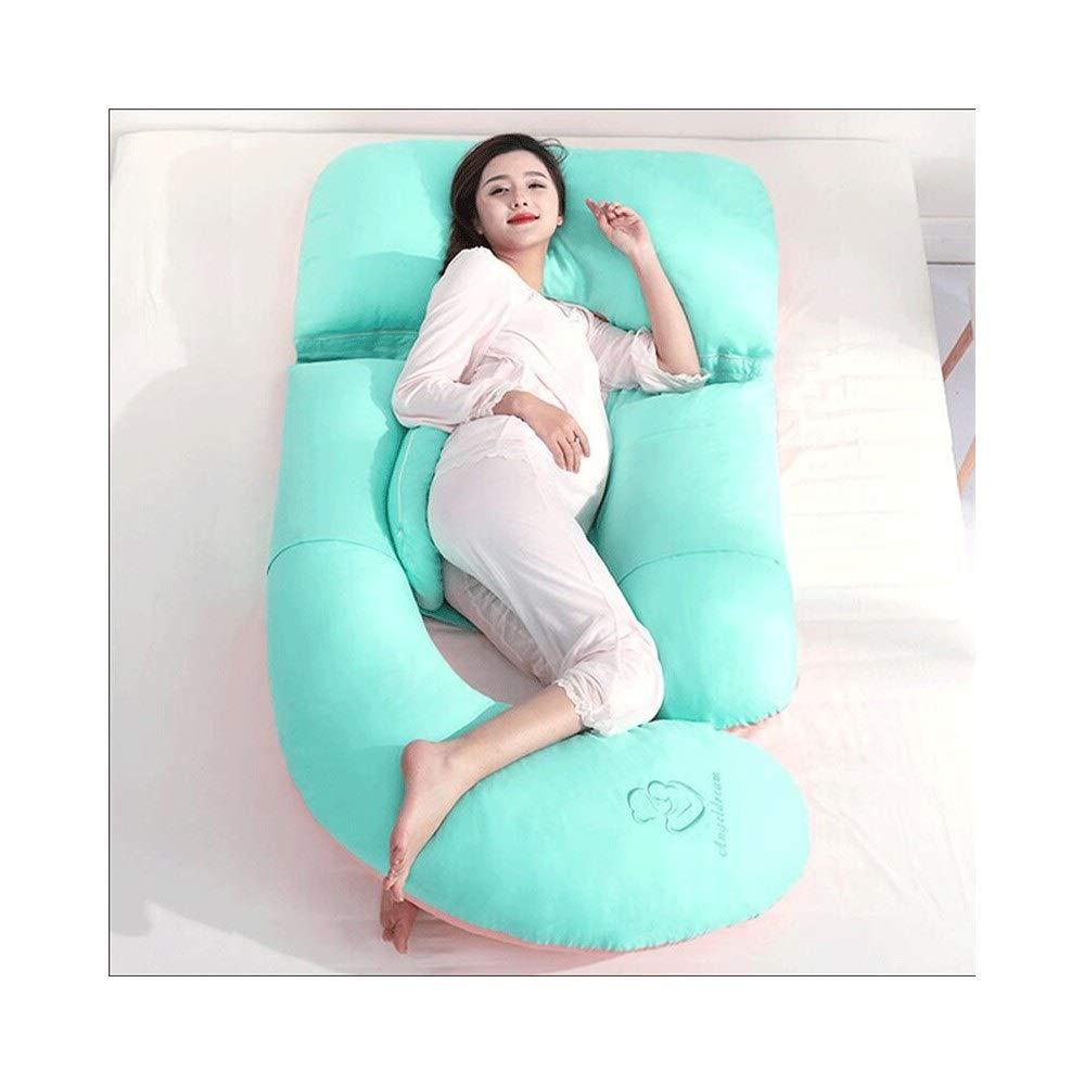 XBR Pregnant women pillow waist side sleeping pillow side sleeping pillow side sleeping pillow pregnancy abdomen multifunctional u-pillow,A (color : Green)