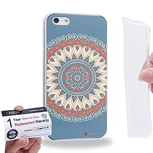 Case88 [Apple iPhone 5 / 5s] Gel TPU Carcasa/Funda & Tarjeta de garantía - Art Fashion Tangerine Circus Mandala Cross 0790