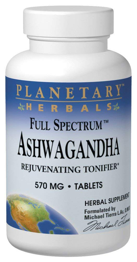 Planetary Herbals Full Spectrum Ashwagandha (Winter Cherry) 570 mg Tablets' 120 Tablets (Pack of 2) by Planetary Formulas