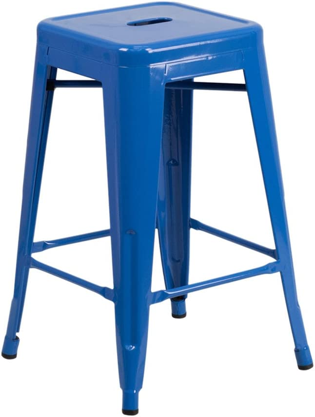 Flash Furniture 24'' High Backless Blue Metal Indoor-Outdoor Counter Height Stool with Square Seat CH-31320-24-BL-GG