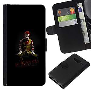 LECELL--Cuero de la tarjeta la carpeta del tirón Smartphone Slots Protección Holder For Samsung Galaxy Core Prime -- DIVERTIDO JOKER COMIDA POR QUÉ TAN FELIZ --