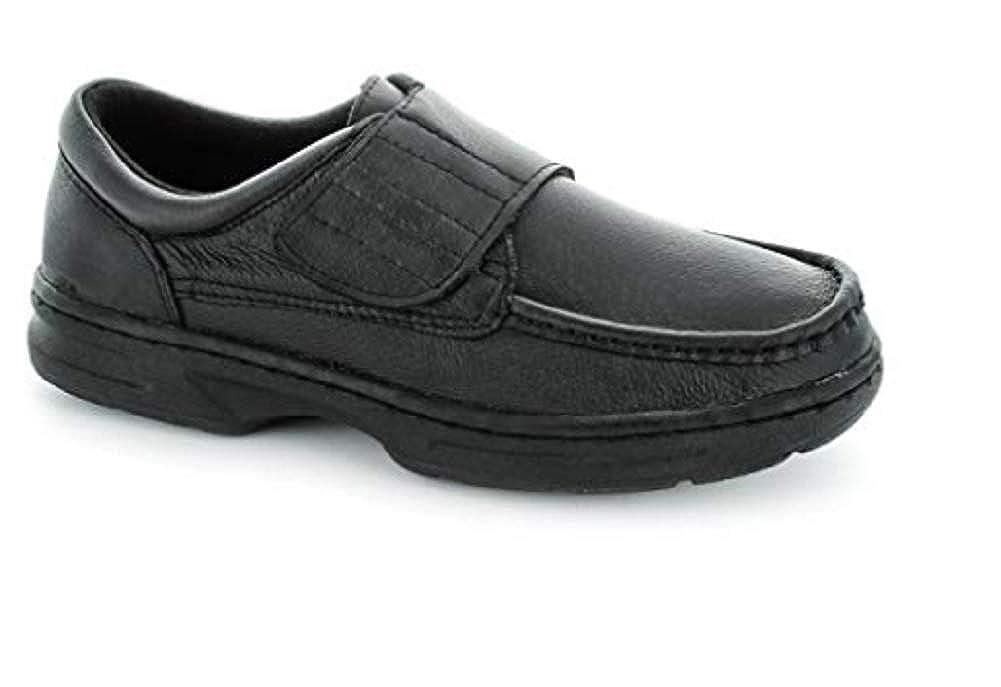 TALLA 40 EU Ancho. Zapatos Cómodos Negros O Gris Topo Velcro Cierre Dr Keller Hombres Talla 6-12